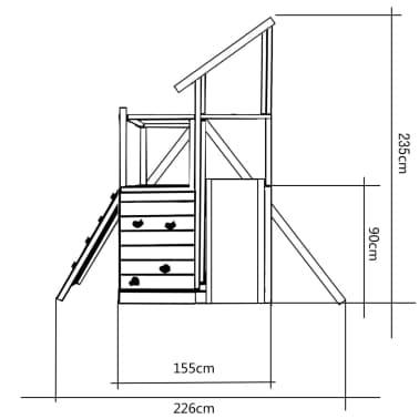 vidaXL Lekplats med trappa rutchkana och gungor 400x226x235 cm trä[7/7]