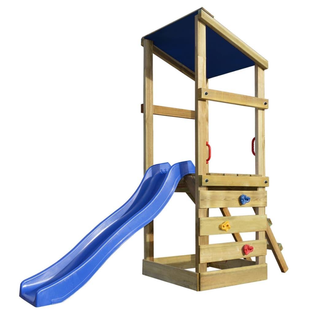 vidaXL Hrací věž, set s žebříkem a skluzavkou 260x90x235 cm dřevo