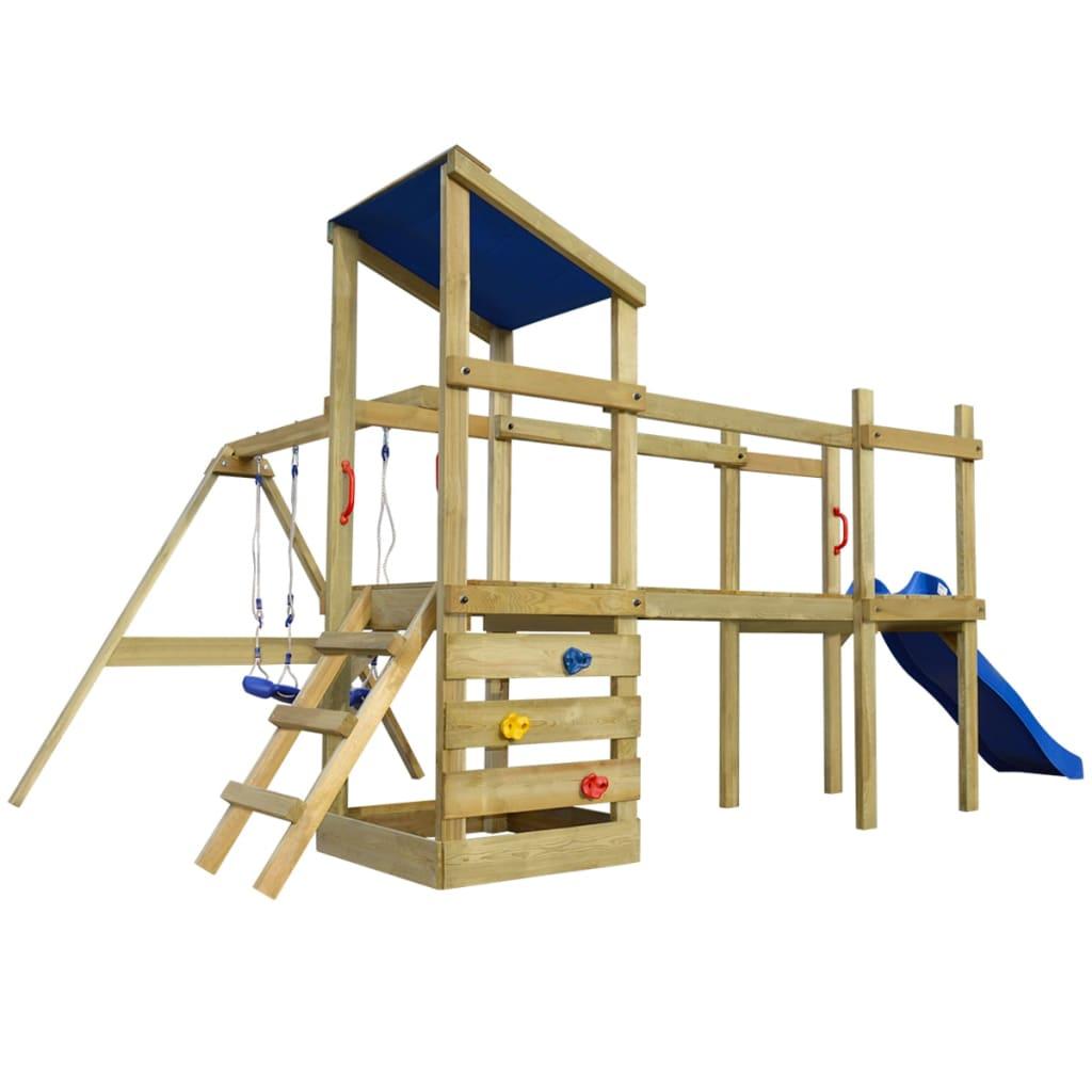 vidaXL Hrací věž, set s žebříkem, skluzavkou a houpačkami 463x275x235 cm dřevo
