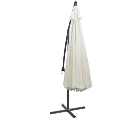 vidaXL paraply 3,5m sandhvit fritthengende[4/8]