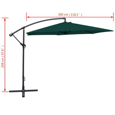 "vidaXL Cantilever Umbrella 118.1"" Green[8/8]"