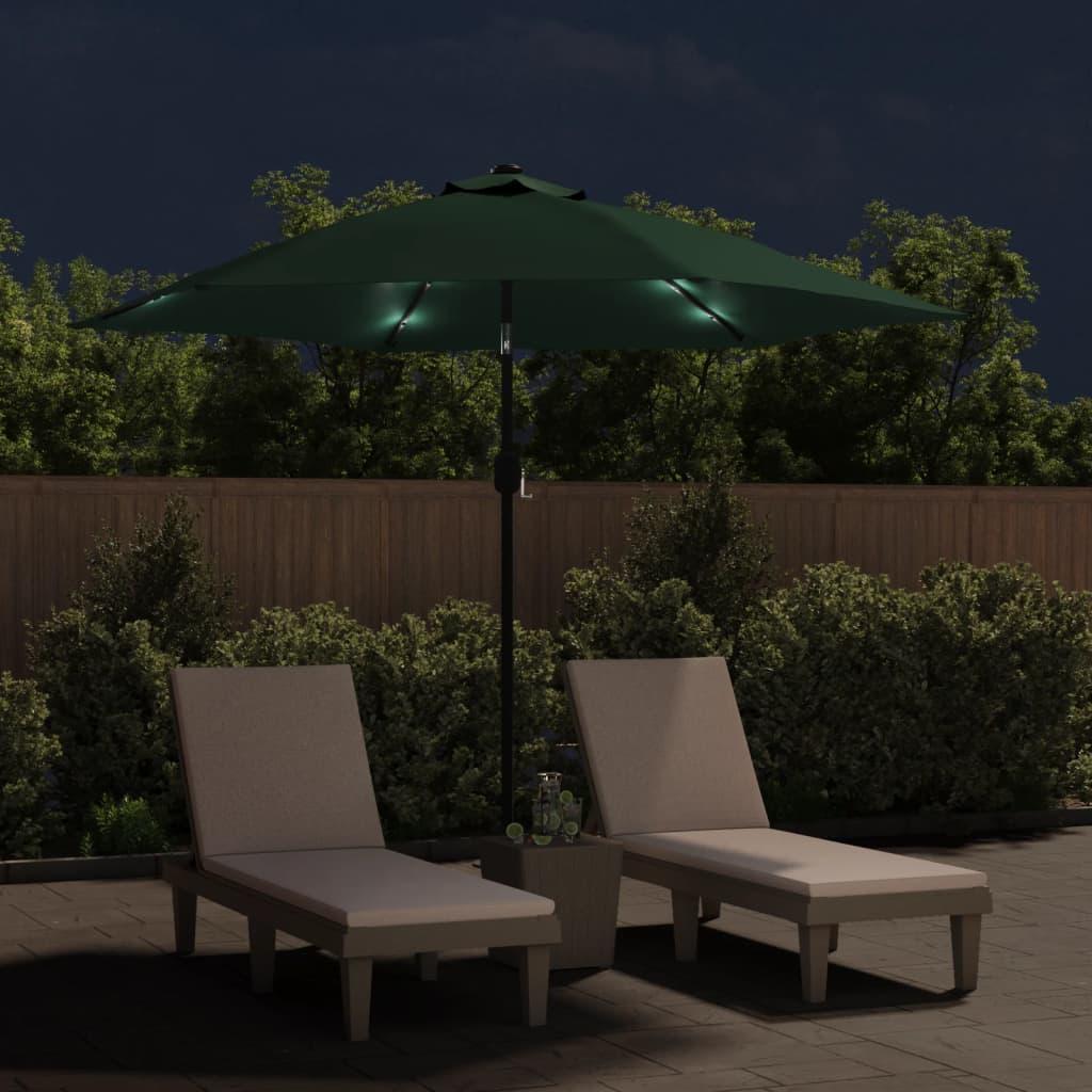 vidaXL Parasol kantelbaar met LED 3 m groen