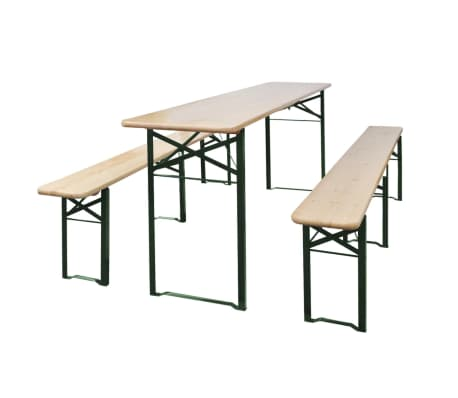 vidaXL Folding Beer Table with 2 Benches 220 cm Fir Wood