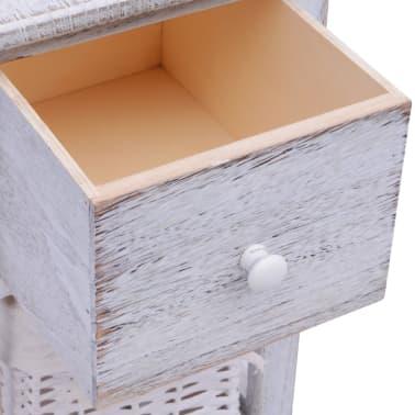 vidaXL Noptieră din lemn, alb[5/7]