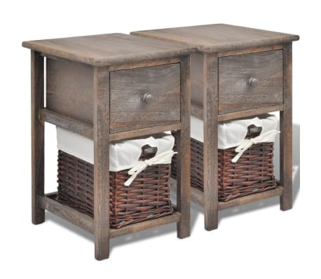 vidaXL Bedside Cabinets 2 pcs Wood Brown