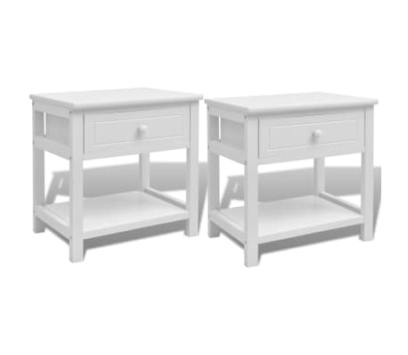 acheter vidaxl table de chevet 2 pcs bois blanc pas cher. Black Bedroom Furniture Sets. Home Design Ideas