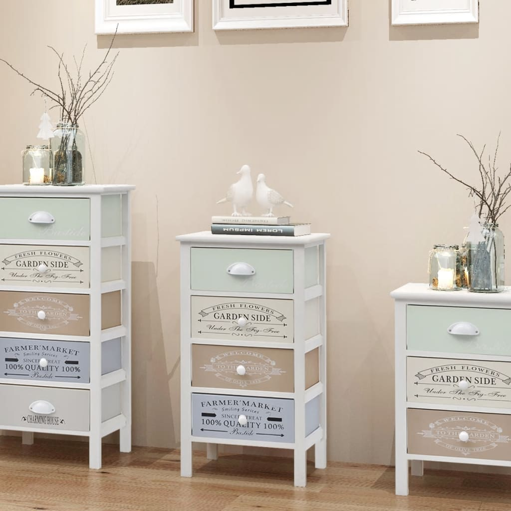 vidaXL Shabby Chic French Storage Cabinet 4 Drawers Wood