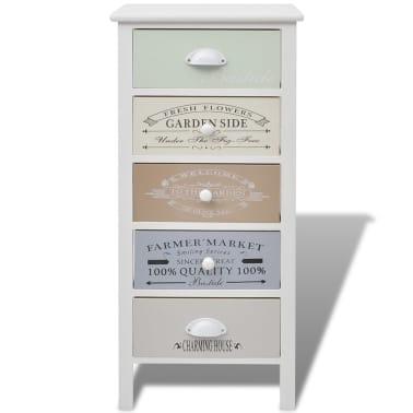 vidaXL Armoire de rangement en style français 5 tiroirs Bois[3/6]