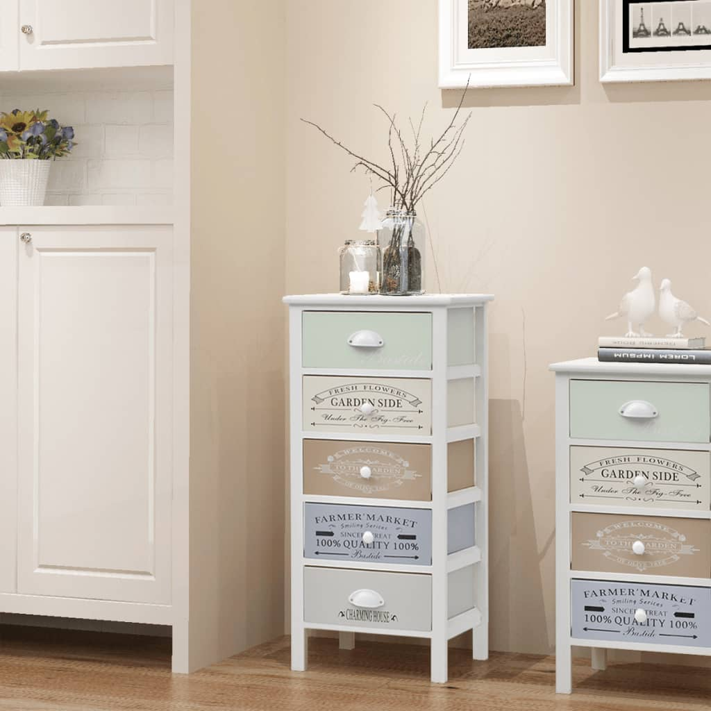 vidaXL Shabby Chic French Storage Cabinet 5 Drawers Wood