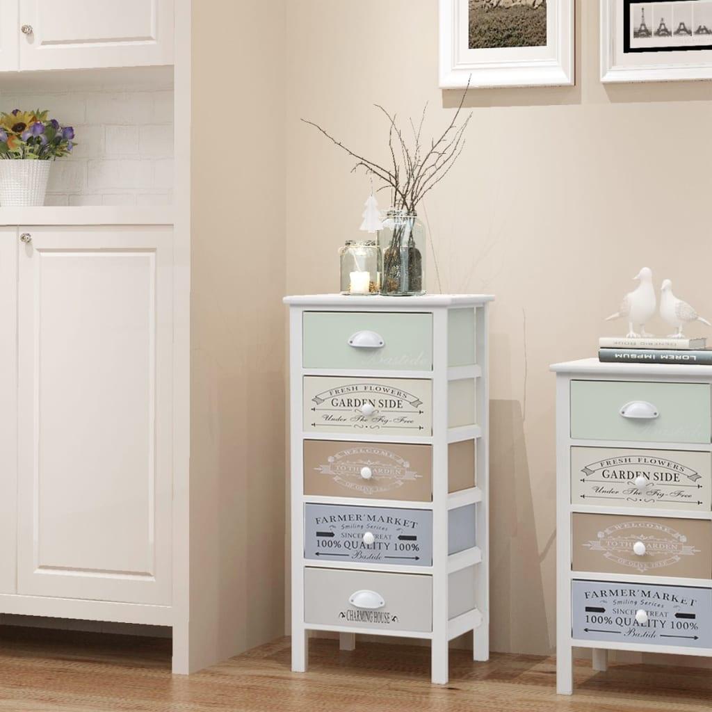 Úložná skříňka ve francouzském stylu s 5 zásuvkami dřevěná