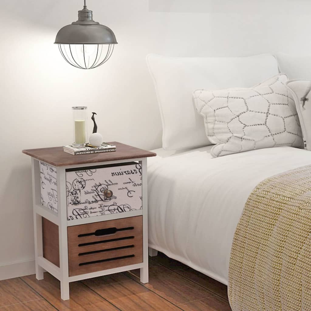Pair of bedside cabinets wood bedroom tables nightstand - Bedroom storage cabinets with drawers ...