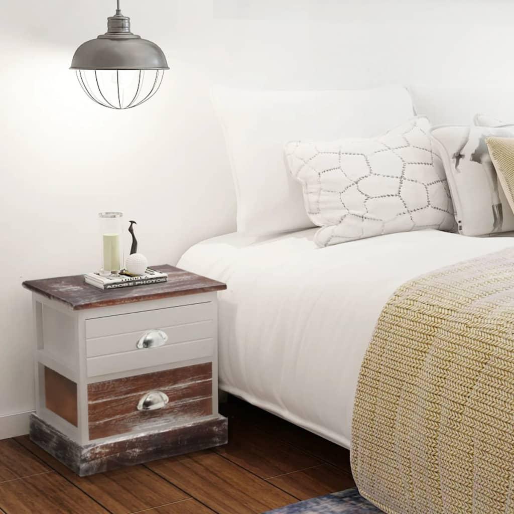 vidaXL Shabby chic noční stolky 2 ks dřevěné hnědo-bílé