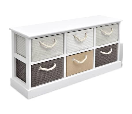 vidaXL Storage Bench 6 Drawers Wood[2/6]