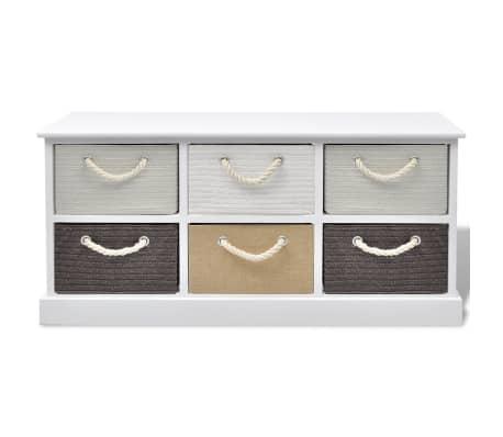 vidaXL Storage Bench 6 Drawers Wood[3/6]