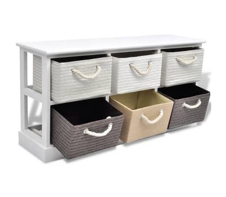 vidaXL Storage Bench 6 Drawers Wood[4/6]
