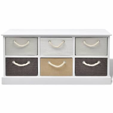 vidaXL Storage Bench 6 Drawers Wood[3/6]