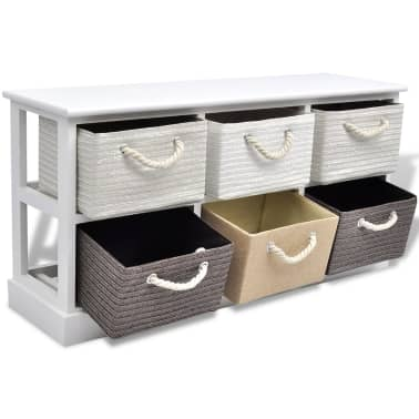 vidaXL Storage Bench 6 Drawers Wood[4/6]