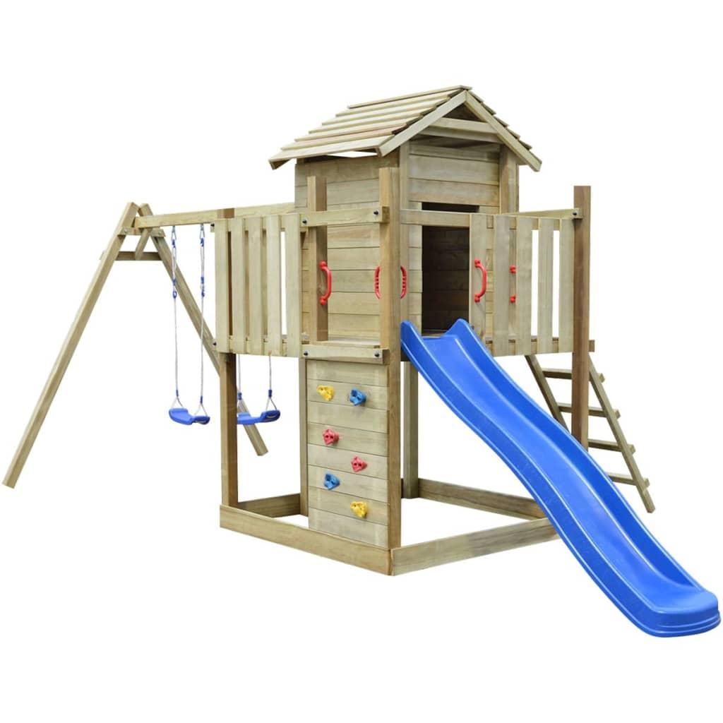 vidaXL Set de joacă din lemn, scară, tobogan și leagăne 557x280x271 cm vidaxl.ro