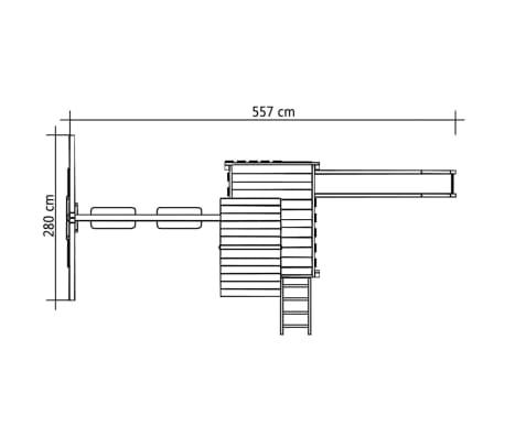 vidaXL Lekplats med stege, rutchkana och gungor 557x280x271 cm trä[8/8]
