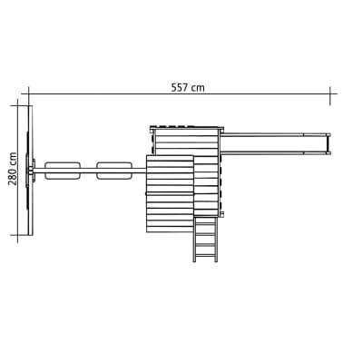 vidaXL Aire de jeu, échelle, toboggan, balançoires 557x280x271 cm Bois[8/8]