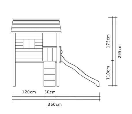 vidaXL Aire de jeu avec toboggan et échelle 360 x 255 x 295 cm Bois[5/6]