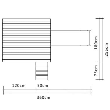 vidaXL Aire de jeu avec toboggan et échelle 360 x 255 x 295 cm Bois[6/6]