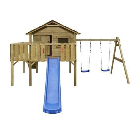 vidaXL Speelhuis met ladder, glijbaan en schommels 480x440x294 cm hout[1/7]