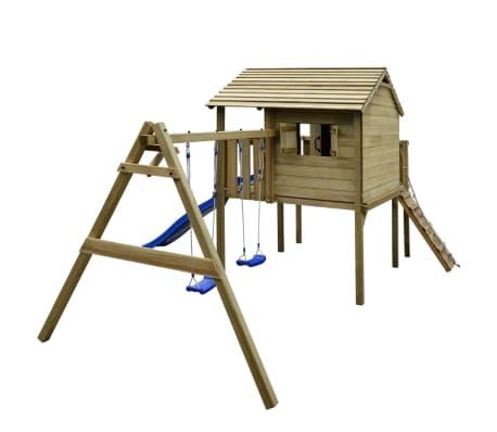 vidaXL Speelhuis met ladder, glijbaan en schommels 480x440x294 cm hout[2/7]