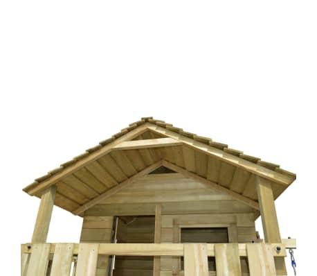 vidaXL Speelhuis met ladder, glijbaan en schommels 480x440x294 cm hout[4/7]
