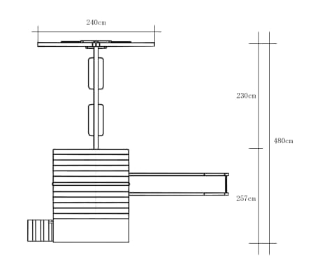 vidaXL Speelhuis met ladder, glijbaan en schommels 480x440x294 cm hout[7/7]