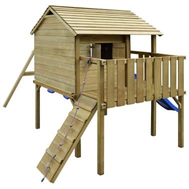 vidaXL Speelhuis met ladder, glijbaan en schommels 480x440x294 cm hout[3/7]