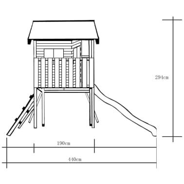 vidaXL Speelhuis met ladder, glijbaan en schommels 480x440x294 cm hout[6/7]