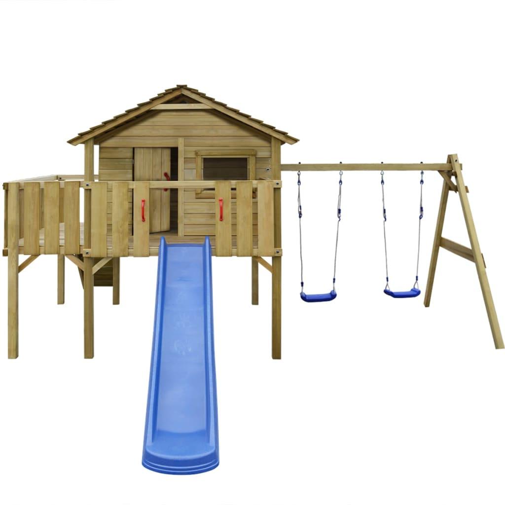 vidaXL Hrací věž, set s žebříkem, skluzavkou a houpačkami 480x440x294 cm dřevo