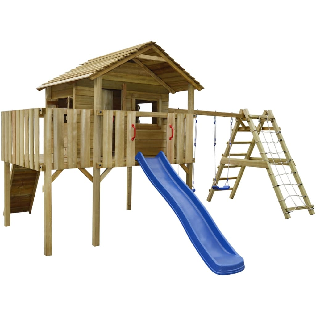 Vidaxl Playhouse With Climbing Net Slide Swings 560x440x294 Cm Wood For Sale In Uk Preloved