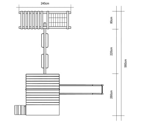 vidaXL Lekstuga med klätternät rutchkana och gungor 560x440x294cm trä[6/6]
