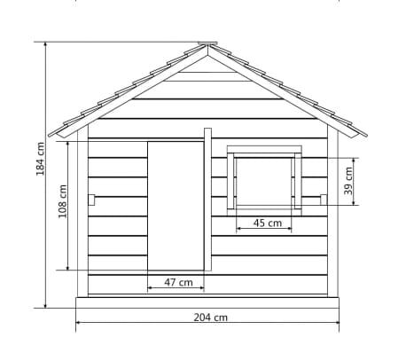 vidaXL legehus med 3 vinduer 204 x 204 x 184 cm træ[5/6]