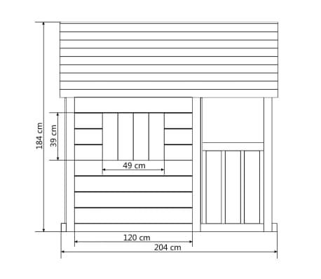vidaXL legehus med 3 vinduer 204 x 204 x 184 cm træ[6/6]