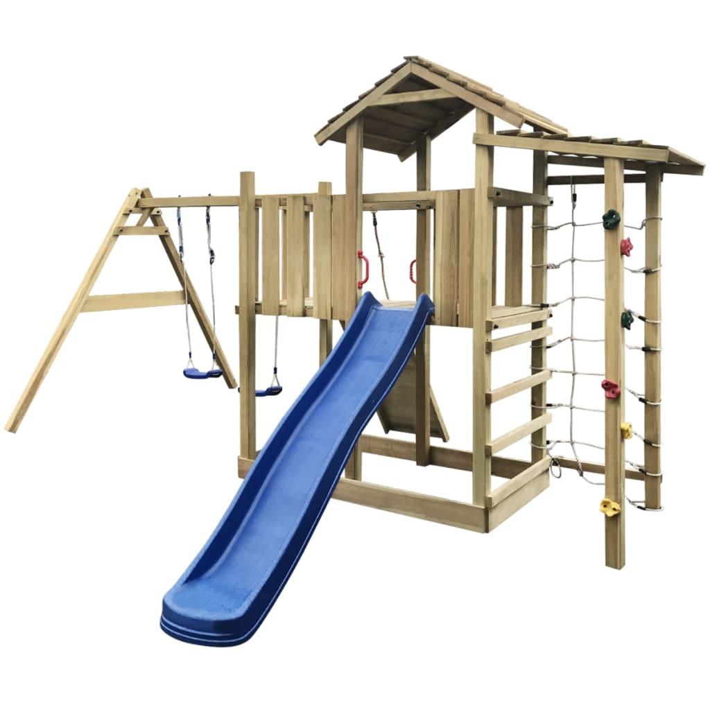 vidaXL Hrací věž + skluzavka, žebřík a houpačky 516x450x270 cm dřevo