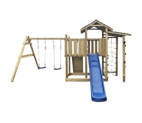 vidaXL Speelhuis met glijbaan, ladder en schommels 516x450x270 cm hout[2/5]