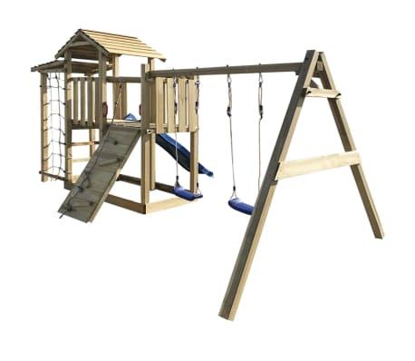vidaXL Speelhuis met glijbaan, ladder en schommels 516x450x270 cm hout[3/5]