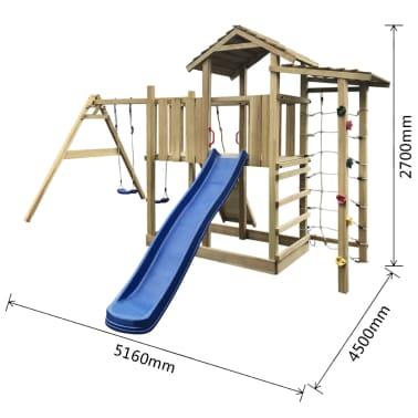 vidaXL Speelhuis met glijbaan, ladder en schommels 516x450x270 cm hout[5/5]