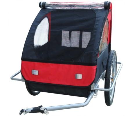vidaXL Remorque de vélo pour enfant Rouge 36 kg[3/5]