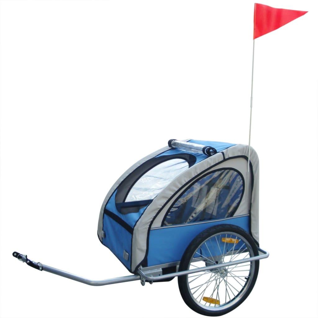vidaXL Dětský vozík za kolo modrý 36 kg