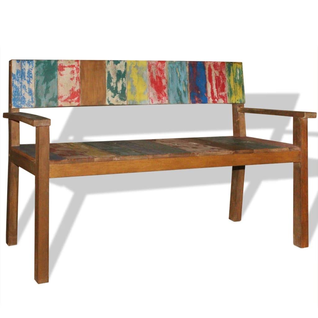 vidaXL Lavice z masivního recyklovaného dřeva 120 x 48 x 85 cm