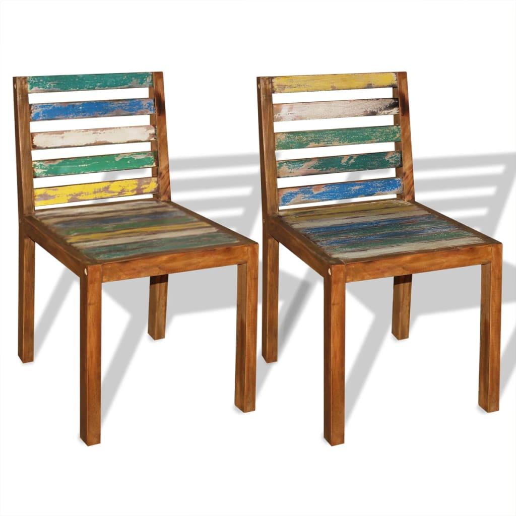 vidaXL Jídelní židle 2 ks masivní regenerované dřevo 45x55x85 cm