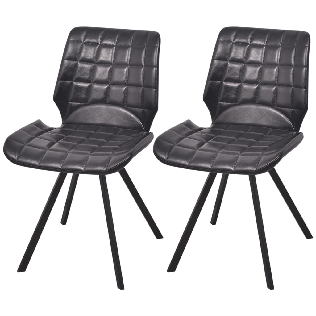vidaXL Jídelní židle z imitace kůže 2 ks, černé
