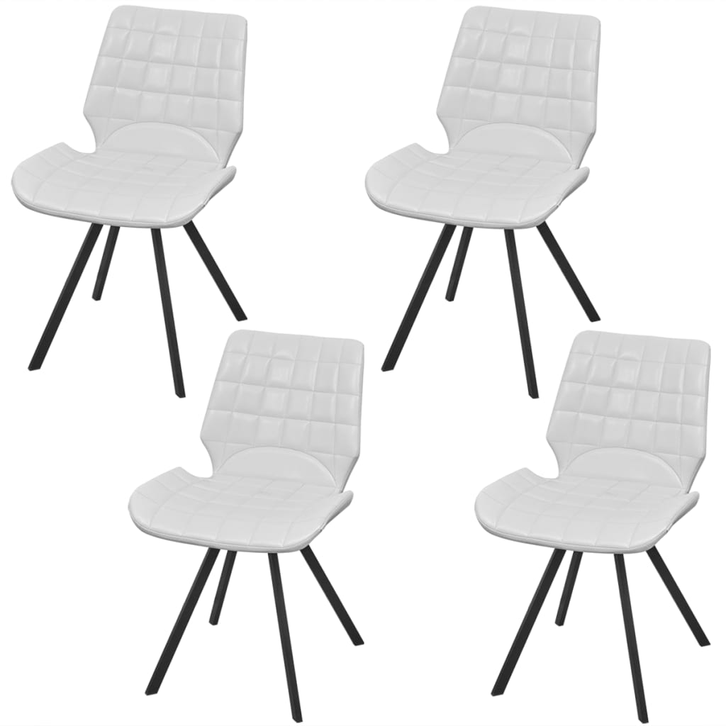 vidaXL Dining Chair Artificial Leather 4 pcs White