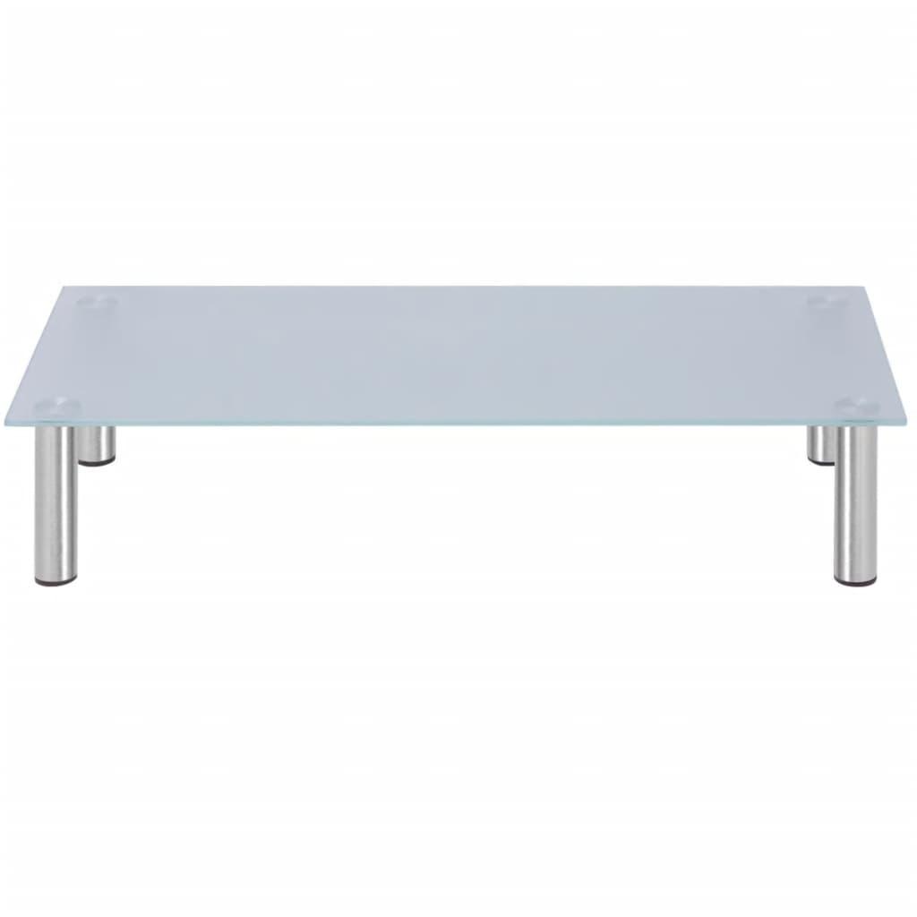 99242966 Monitoraufsatz/TV-Tisch 80x35x17 cm Glas Weiß