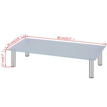 "vidaXL Monitor Riser/TV Stand 31.5""x13.8""x6.7"" Glass White[4/4]"