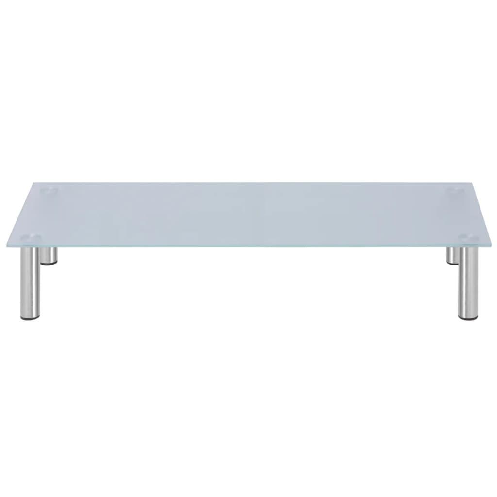 99242968 Monitoraufsatz/TV-Tisch 100x35x17 cm Glas Weiß